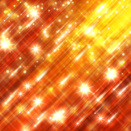 Glittering stars blurred yellow and red background Stockfoto