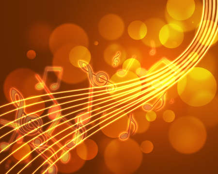 burning musical symbols on a dark background Stockfoto