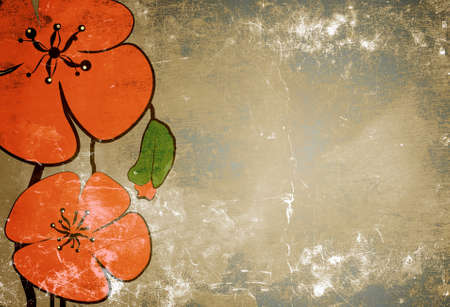 Poppies on the old grunge texture with some spots Stockfoto