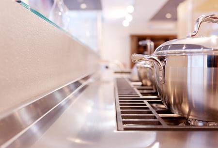 pans in kitchen photo