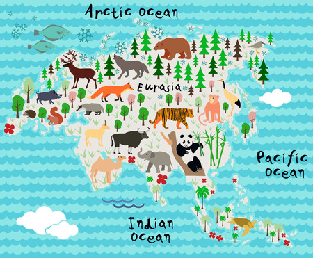 cartoon world: Cartoon animal map. Eurasia