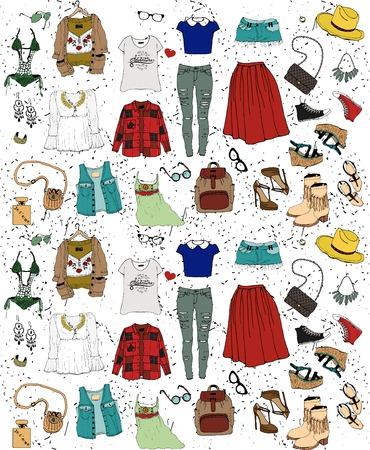 illustrazione moda: Illustrazione di moda abbigliamento set.Student Style