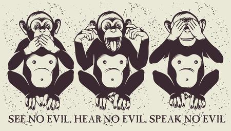 escuchar: Los tres monos sabios Vectores