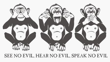 oir: Los tres monos sabios Vectores