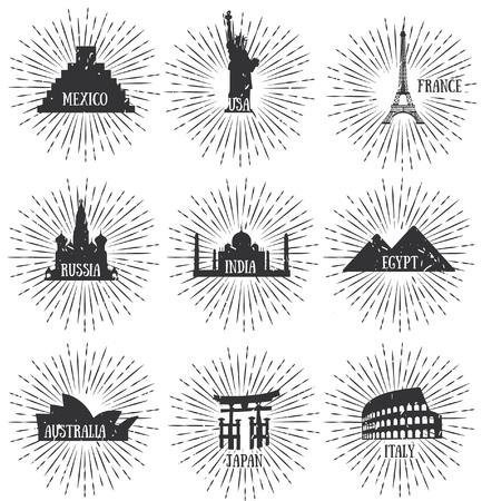 timbre voyage: Une illustration vectorielle de renommée mondiale Insignes voyage Illustration