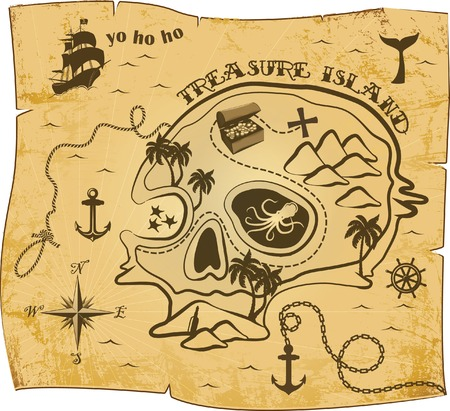 Carte motif Pirate Banque d'images - 35994697