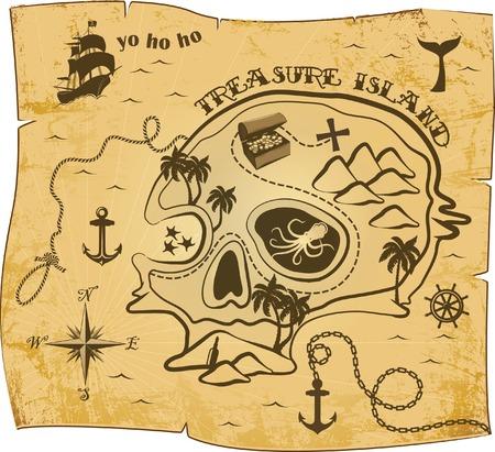 Pirate Karte Muster Standard-Bild - 35994697