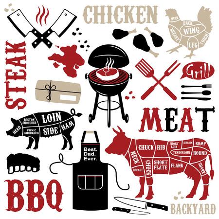 carnes rojas: Patr�n de la barbacoa con los iconos de carne Vectores
