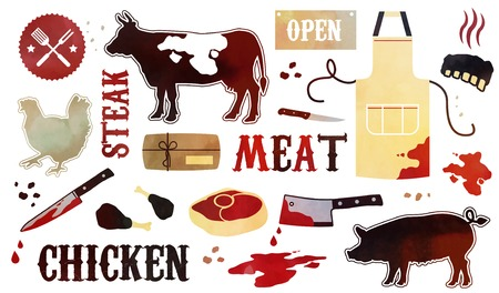 barbecue ribs: Barbecue pattern with meaty icons Illustration
