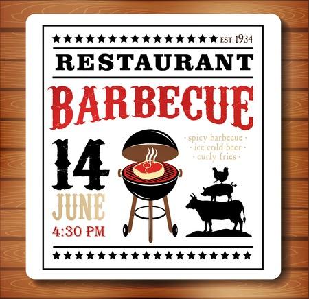 dattes: Barbecue Vintage carton d'invitation Illustration