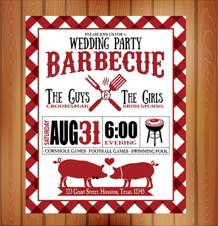 bbq: Vintage Barbecue wedding invitation card