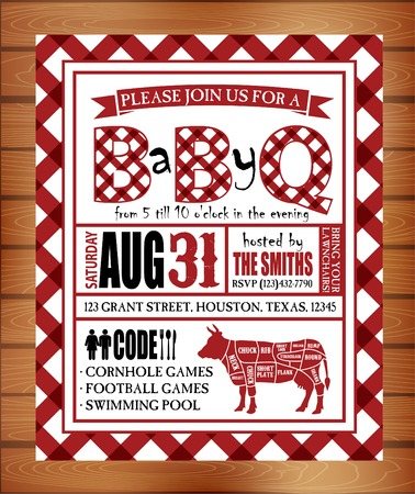 hot wife: Vintage barbecue invitation card