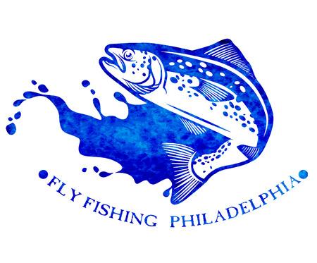 Watercolor trout fishing emblem