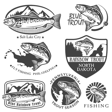 sea fish: Vintage trout fishing emblems, labels and design elements
