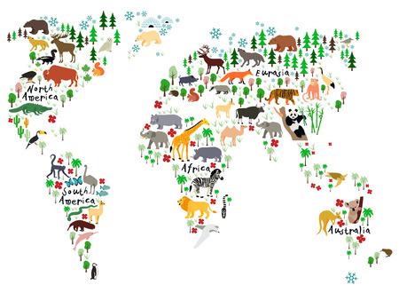 australia animal: Animal map of the world for children and kids