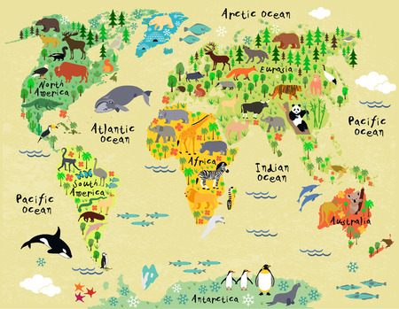 Animal map of the world for children and kids photo