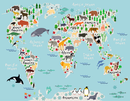 Animal map of the world for children and kids Фото со стока - 35994789