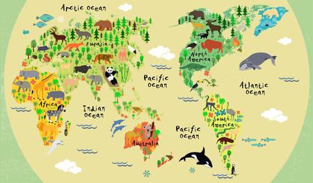 Dierlijke kaart van de wereld voor kinderen en kinderen