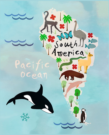 sidney: Animal cartoon map of South America