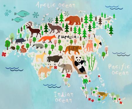 Cartoon animal map. Eurasia