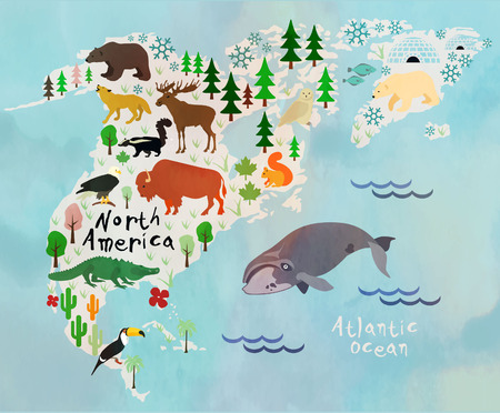 america: Animal cartoon map. North America.