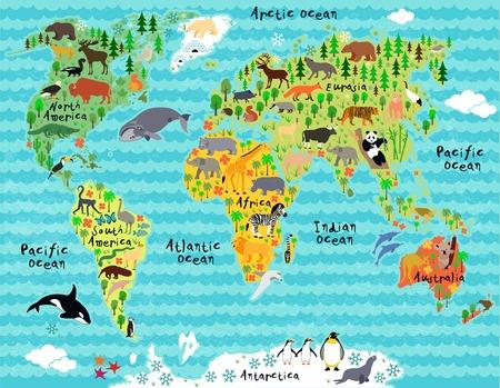 어린이와 아이를위한 세계의 동물지도 일러스트
