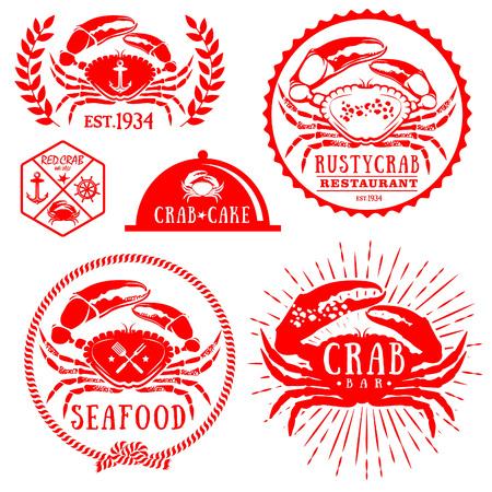 Set of vintage seafood labels, badges and design elements 向量圖像