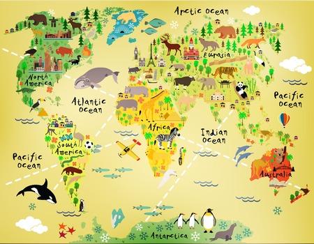 animales del bosque: Cartoon mapa del mundo