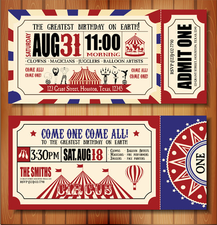 circus animal: Birthday card with Circus Ticket Illustration