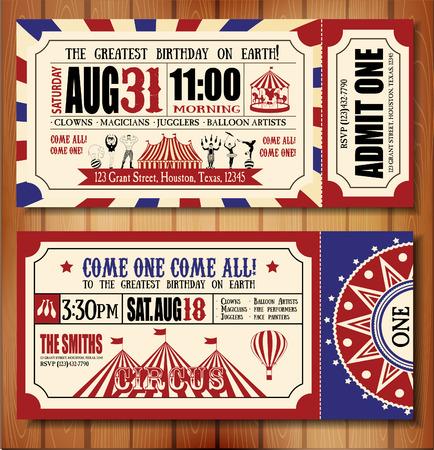 Carte d'anniversaire avec le Cirque Ticket Banque d'images - 36297390