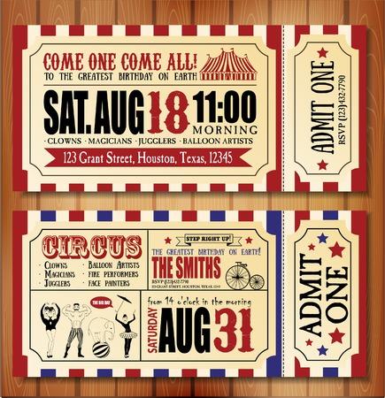 payaso: Tarjeta de cumplea�os con entradas Circo Vectores