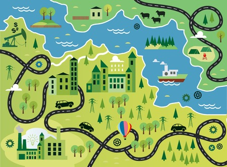 Cartoon map with river Vector