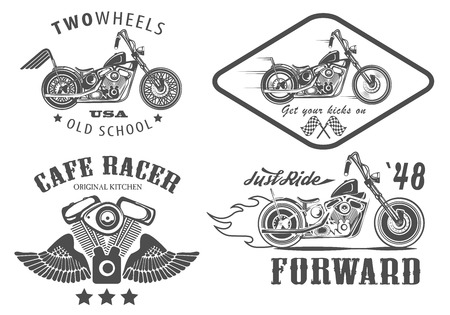 Set van vintage motorfiets badges Stock Illustratie