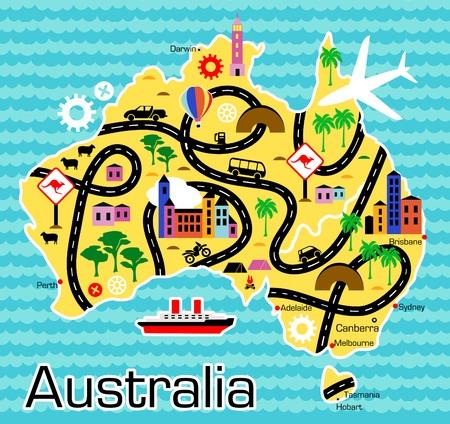 carte du Cartoon d'Australie