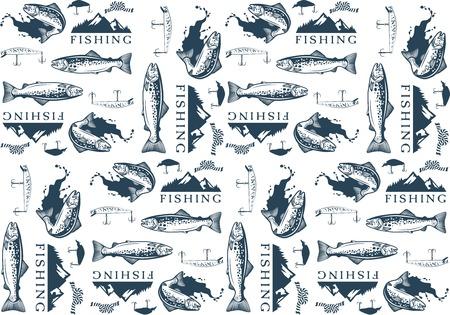 truchas: Modelo con los emblemas de pesca de la trucha, etiquetas y elementos de dise�o