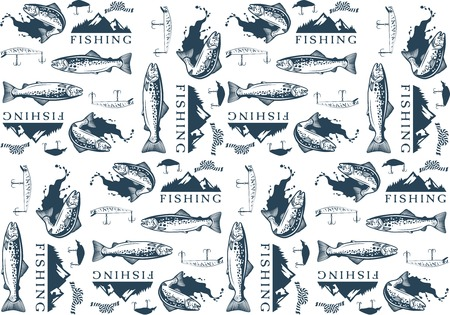 angling rod: Pattern with trout fishing emblems, labels and design elements Illustration
