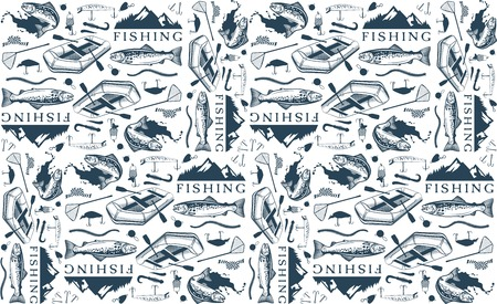 Pattern with trout fishing emblems, labels and design elements Vectores