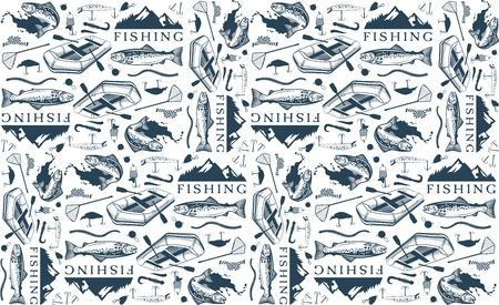 Motif avec des emblèmes de pêche à la truite, des étiquettes et des éléments de conception