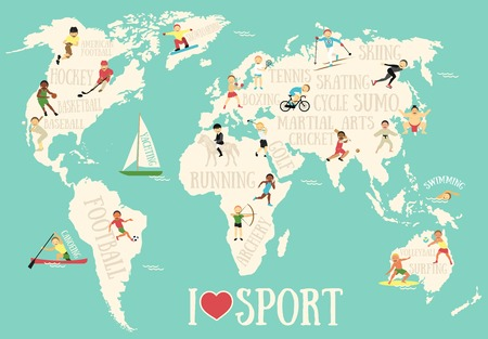 teen golf: Mapa de la historieta con deportistas Vectores