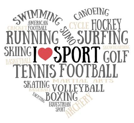 Ik hou van sport Stock Illustratie
