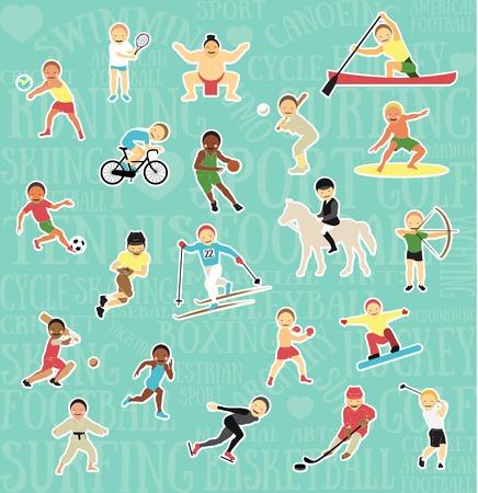 naughty boy: Pattern with sportsmen Illustration