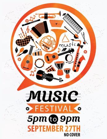 Music festival. Vector music flyer.
