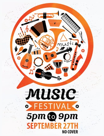 the festival: Music festival. Vector music flyer.