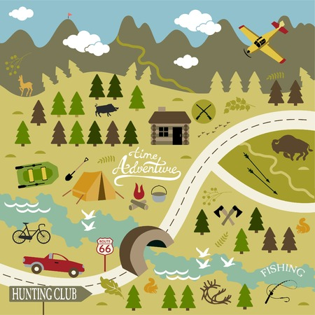 waypoint: Set of vector icons for camping, outdoor activities and hunting. Illustration