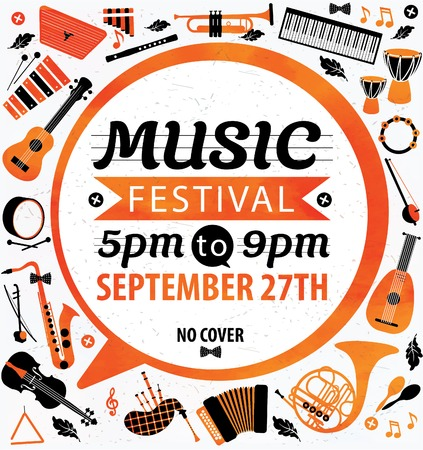 musical notes background: Music festival. Vector music flyer.
