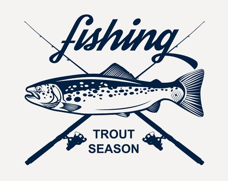 Trout fishing Ilustrace