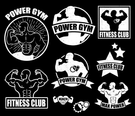 bodybuilder man: Gym . Athletic labels and badges made in vector. Bodybuilder, fit man, athlete icon.