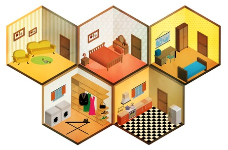 bunk bed: Vector isometric rooms icon