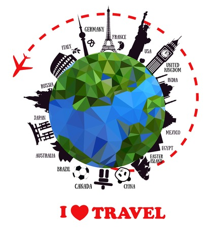 pise: travel background with earth and landmarks