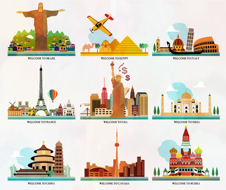 travel locations: Travel and tourism locations Illustration